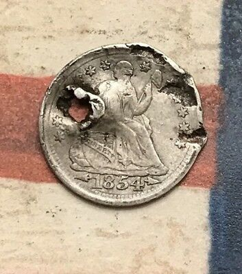 1854 5C Seated Liberty Half Dime 90% Silver Vintage US Coin #LX79