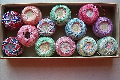 Vtg Antique Colorful Tatting Thread in Old Buttermilk Toilet Soap Box