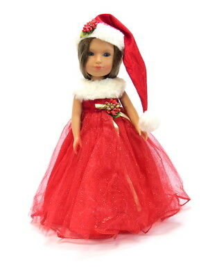 """Sparkle Holly Christmas Dress Fits Wellie Wishers 14.5"""" American Girl Clothes"""