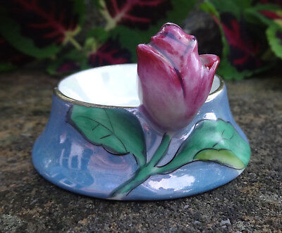 Blue Lusterware Porcelain Open Salt Dip, Cellar, Dish w/Dark Pink Rose on Rim!