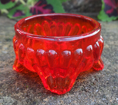 Dainty, Bright Red-Orange Glass Footed Open Salt Dip, Cellar, Dish!