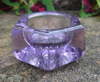 Purple Glass Hexagon-Shaped Open Salt Dip, Cellar, Dish!