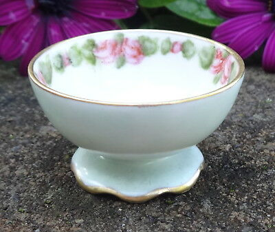Cute, Pale Blue Porcelain Open Salt Dip, Cellar, Dish w/Roses, Leaves!