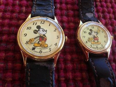 Vintage Lot of (2) Lorus Walt Disney Mickey Mouse Watches His & Hers WOW!!!