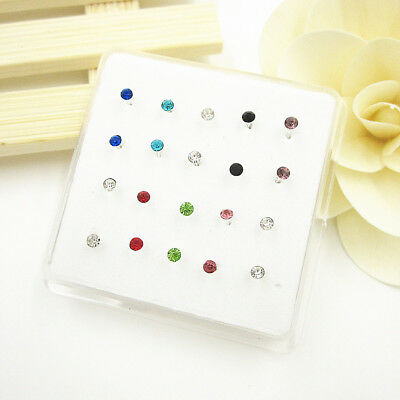 20Pcs Multi-Color Crystal Straight Bar Bone 925 Solid Silver Nose Stud Piercing