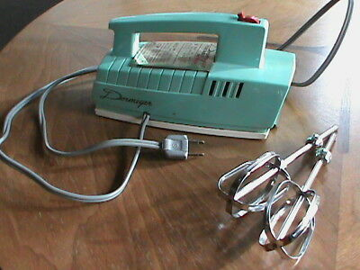 Vintage DORMEYER Hand Mixer Turquoise Aqua Works Atomic RETRO Space Age