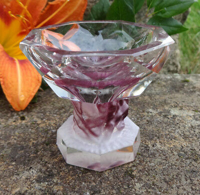 Gorgeous Lalique Plum and Clear Crystal Pedestal Open Salt Dip, Cellar, Dish!
