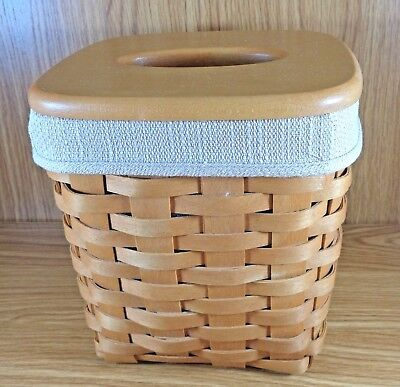 Longaberger TALL TISSUE Basket With Liner, Protector & Lid