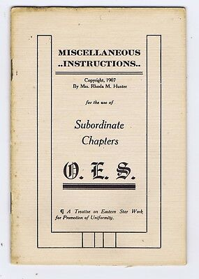 Miscellaneous Instructions Order Eastern Star Indian Territory booklet 1907