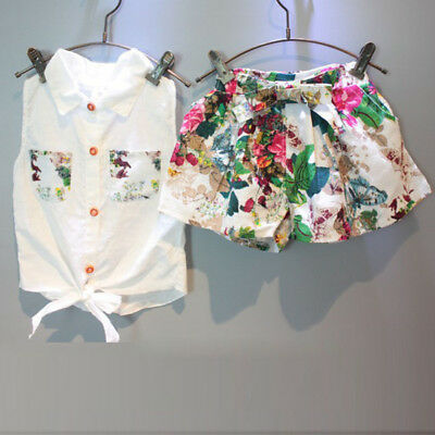 Kids Toddler Baby Girls Outfits Floral Clothes Shirt Top+Shorts Pants Outfit Set