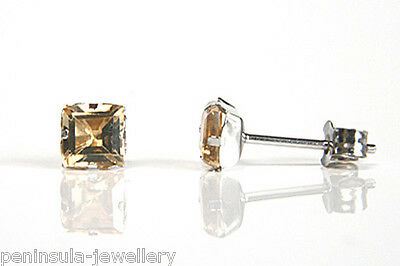9ct White Gold Citrine Studs earrings Gift Boxed Made in UK Christmas Xmas Gift
