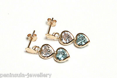9ct Gold Blue Topaz Double Heart Drop Earrings Gift Boxed Made in UK Christmas