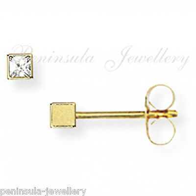 9ct Gold 2mm Square CZ Studs earrings Gift Boxed Christmas Xmas Gift