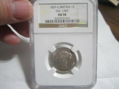 1839 1Shilling NGC AU58 Great Britain queen Victoria
