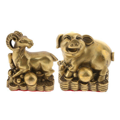 2Pack Chinese Feng Shui Money Lucky Zodiac Animal Figurine Ornament Pig Goat