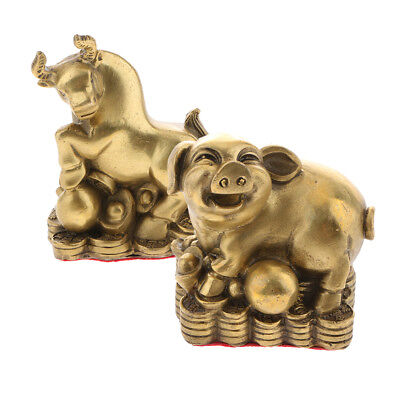 2 Pack Chinese Feng Shui Money Lucky Zodiac Animal Figurine Ornament Pig Ox