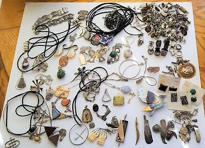 Lot of Vintage Hand Crafted Sterling Silver Jewelry - 1500+ Grams / 3.5 Lbs