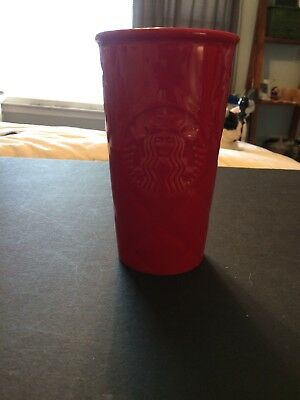 Starbucks Red Quilted Double Wall Ceramic Travel Mug Tumbler New 2016 No Lid