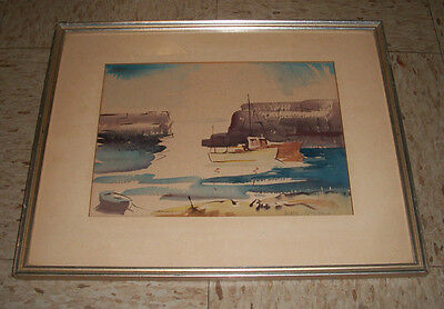 Mary Bryan 1907-1978 Watercolor Abstract Fishing Boats in New England 14x17 rare
