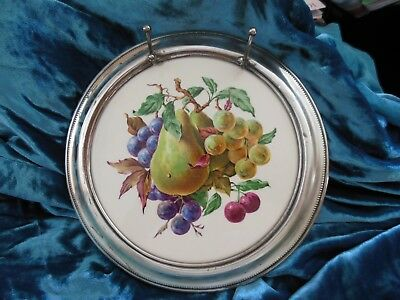Sterling Silver Rimmed & Knife Rest Cheese Plate Porcelain With Colorful Fruits
