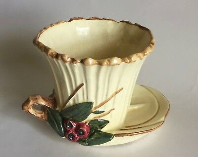 Very Nice 1950 Mccoy Fancy Lotus Leaf Decorated Flower Pot With Ring Handle