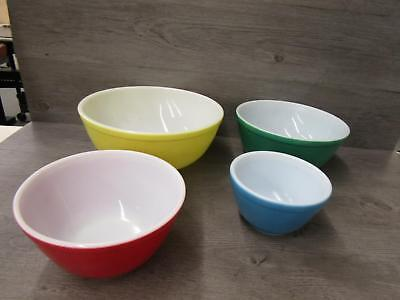 Vintage Set of 401 402 403 404 Pyrex Primary Colors Nesting Mixing Bowls