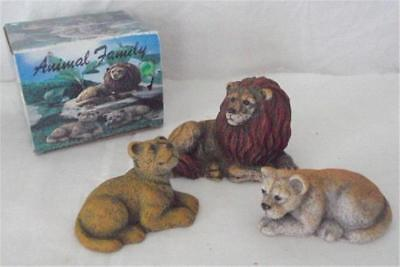 3 Piece NEW IN BOX Vintage Lion Family Resin Figurines From Walnut Ridge