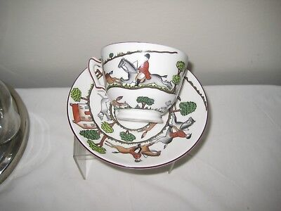 Crown Staffordshire hunting scene cup & saucer. Lovely condition.