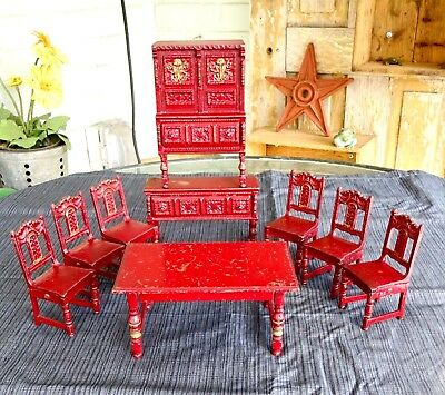 ARCADE TOY CAST Iron Red Dining Room Set Hutch 6 Chairs ...