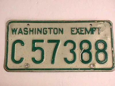Washington State Exempt License Plate - Obsolete - 1968 Issue