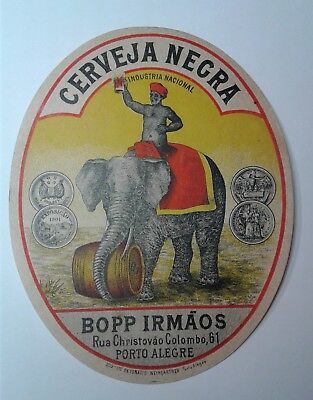 RARE Antique Early 1900's OVAL LABEL CERVEJA NEGRA  BEER BREWERY BRAZIL