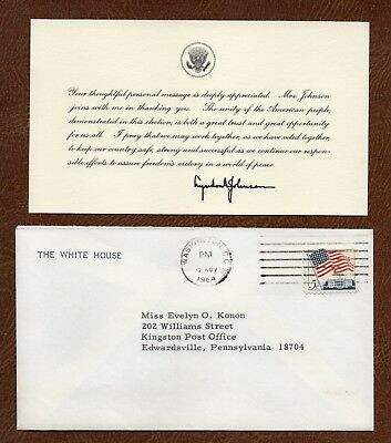 Nov. 1964 LYNDON JOHNSON White House THANK YOU CARD to ELECTION SUPPORTER