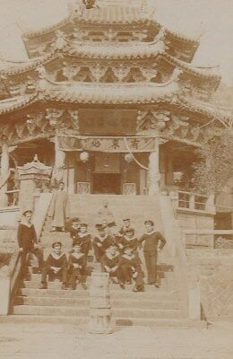 CHINA ? -  Navy sailors front of chinese Temple - Real photo Postcard 1910/20s