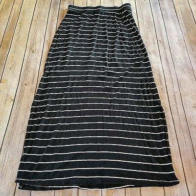 d42a0c6339 Old Navy Size S Maxi Skirt Black White Striped Side Slits Rayon Spandex  Womens