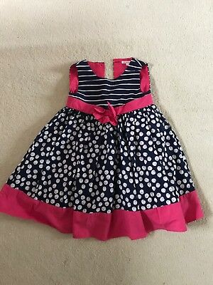 girls Christmas party dress navy and pink age 4-5 blue zoo debehams