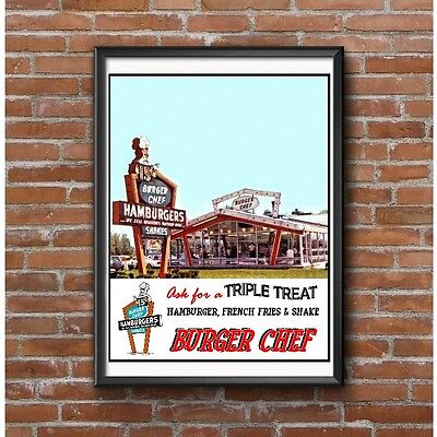 Burger Chef Tribute Poster - Hamburger Restaurant Triple Treat Neon Sign