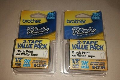 "2 pack Brother M231 P-Touch Label Tape Ptouch 1/2"" M-231 M-2312PK Lot 2 packs"