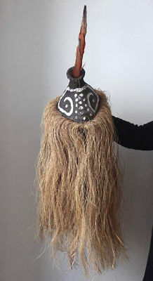 Rare old Angola tribal mask with feathers, estate find