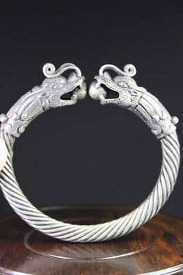Exquisite Miao Silver Carved Two Dragon Show Bead Screw Thread Beauty Bracelet
