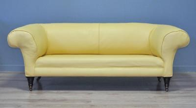 Stylish Large Antique Victorian Yellow Chesterfield Sofa Couch Settee