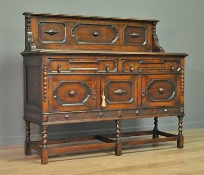 Attractive Antique Oak Gallery Back Sideboard Cabinet With Cupboards & Drawers