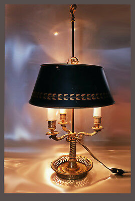 An Early 20th C French Gilt Bronze 3-Arm Bouillotte Lamp W Tole Shade, 66,0 cm H