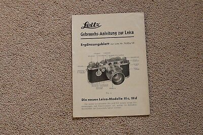 Leica Leitz Very Rare Original IIIC & IIID Instructions Oct 1940 4 Pages