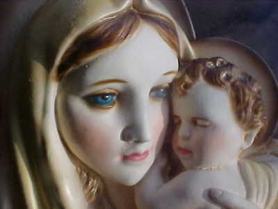 Vtg Religious Chalkware Plaque Wall Hanging Blessed Virgin Mary Baby Jesus Large