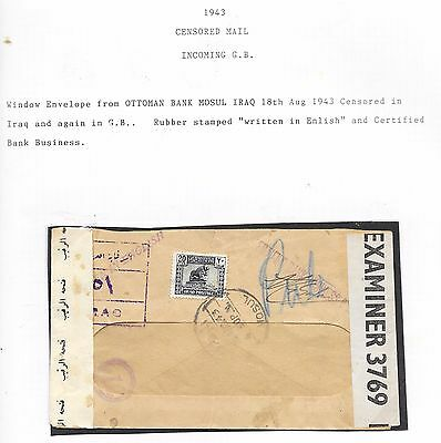 Middle East Iraq; Double Censored Cover To U.k. 18/8/1943.