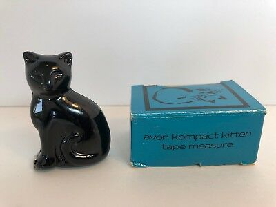 Avon Kompact Black Kitten ~ Metal Tape Measure 1989