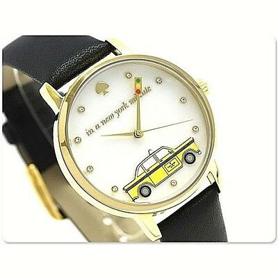 NEW Kate Spade Women's Watch Gold SS & Black Leather MOP METRO TAXI KSW1346 $195