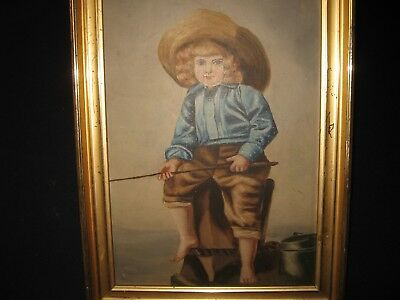 1800s ANTIQUE PRIMITIVE OLD COUNTRY BOY FISHING POLE OIL FOLK ART PAINTING 8x13
