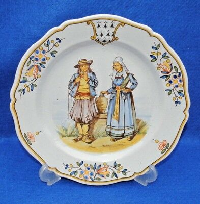 A VERY NICE 19THC FRENCH FAIENCE HR HENROIT QUIMPER PLATE SIGNED Eillant
