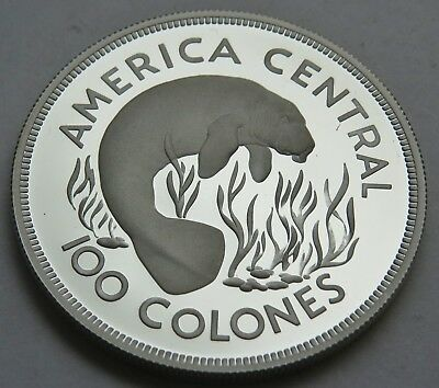 100 COLONES 1974 COSTA RICA , MANATEE , SILBER .925 PROOF , 42 mm , = 35.6 g